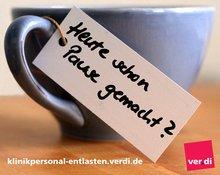 """Tasse mit Schild: """"Heute schon Pause gemacht"""""""